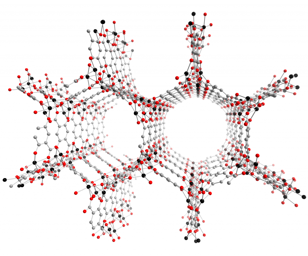 Crystal structure of a metal organic framework, or MOF.